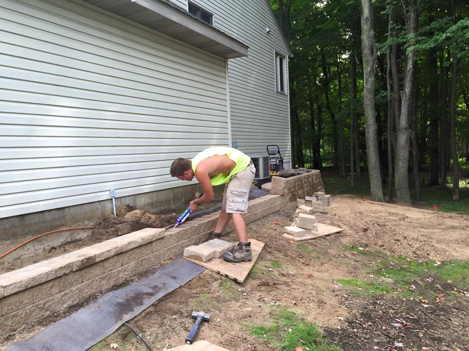 Small Paver Patio And 135u2032 Long Retaining Wall In Holland, MI.
