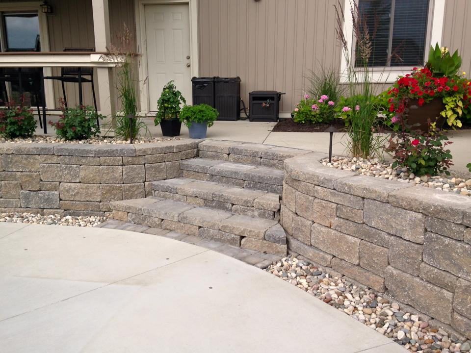 Allan Block And Boulder Retaining Wall Project